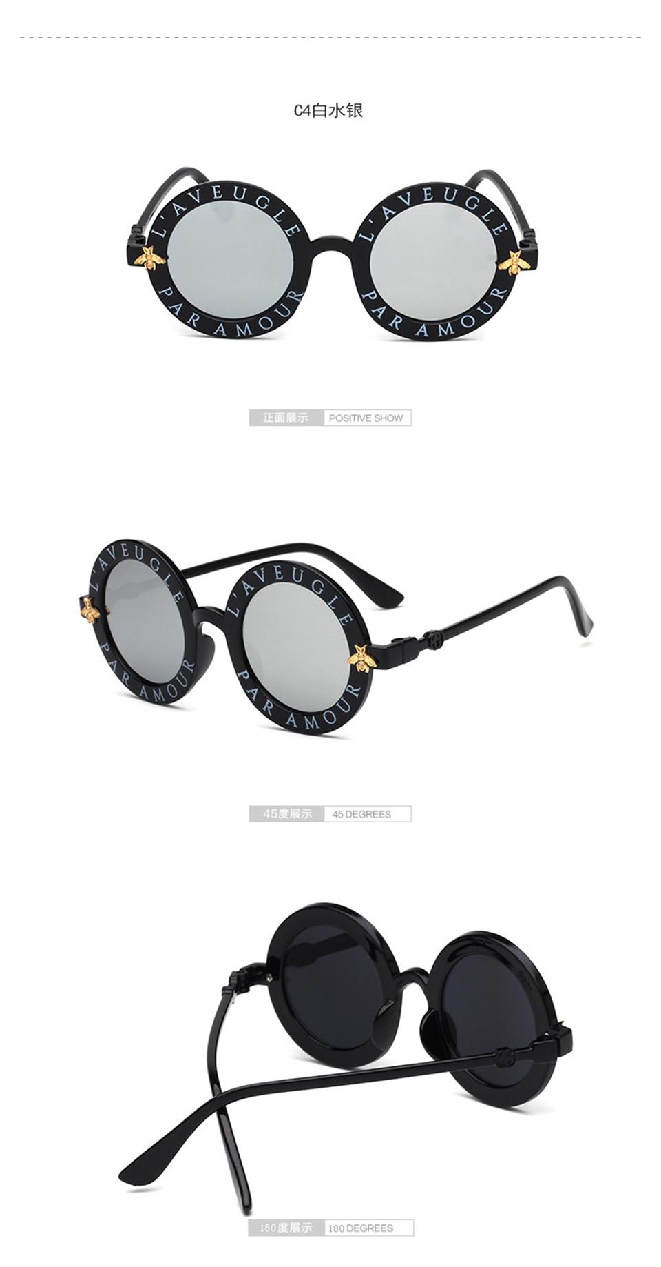 Steampunk Bee Kids Sunglasses Boys Girls Luxury Vintage Children Sunglasses Round Sun Glasses Oculos Feminino Accessories 7