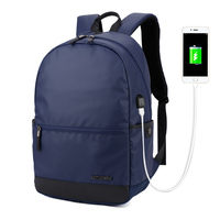 Black Solid Men Business Backpack With External USB Charge Plug Waterproof Oxford Fabric Male College Bag