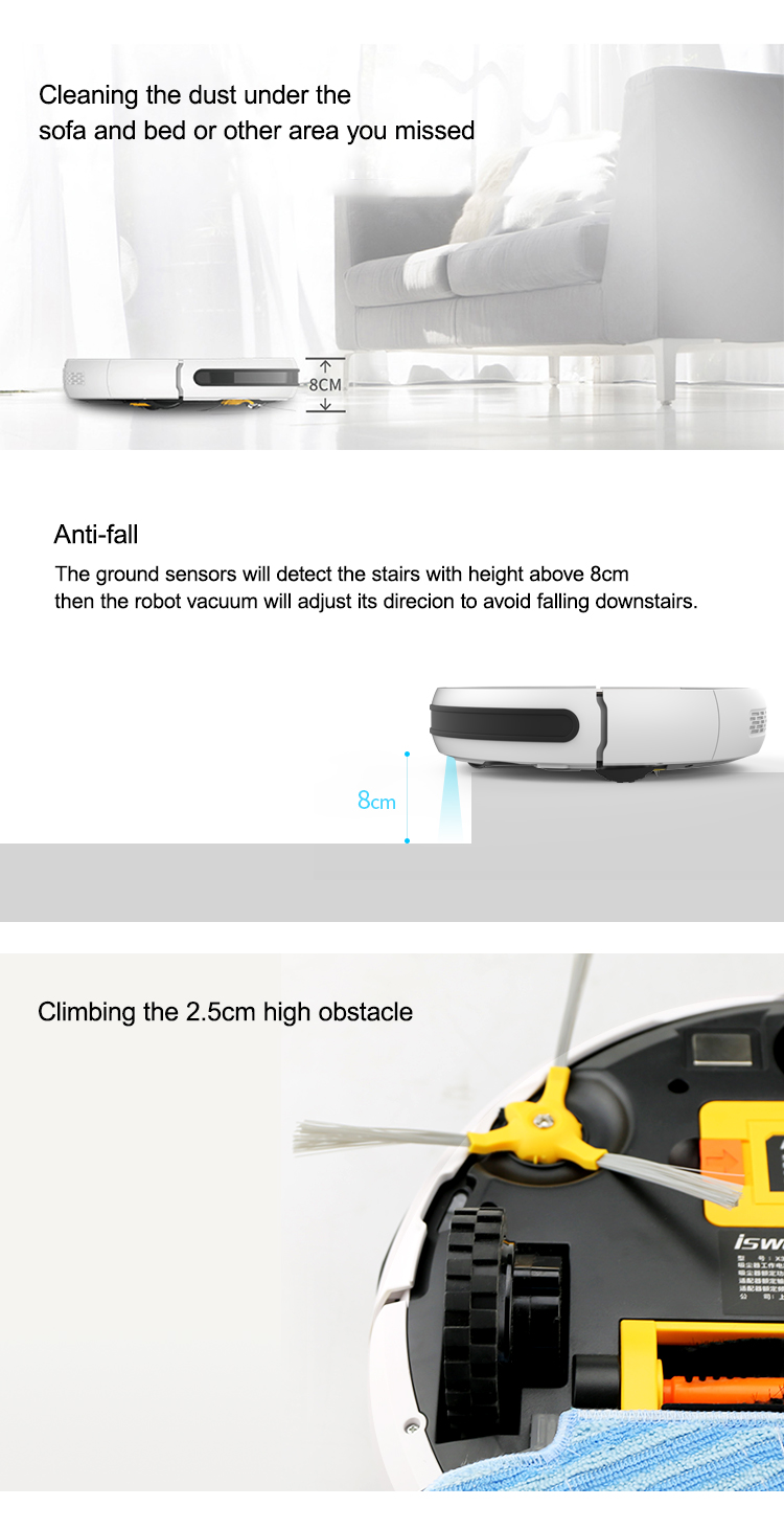 HTB1fF4zaEz1gK0jSZLeq6z9kVXaP Isweep X3 Robot Vacuum Cleaner APP Control 1800 PA Wet and Dry Home Sweeper Auto Recharge EU Plug English Version Gift 2 Brush