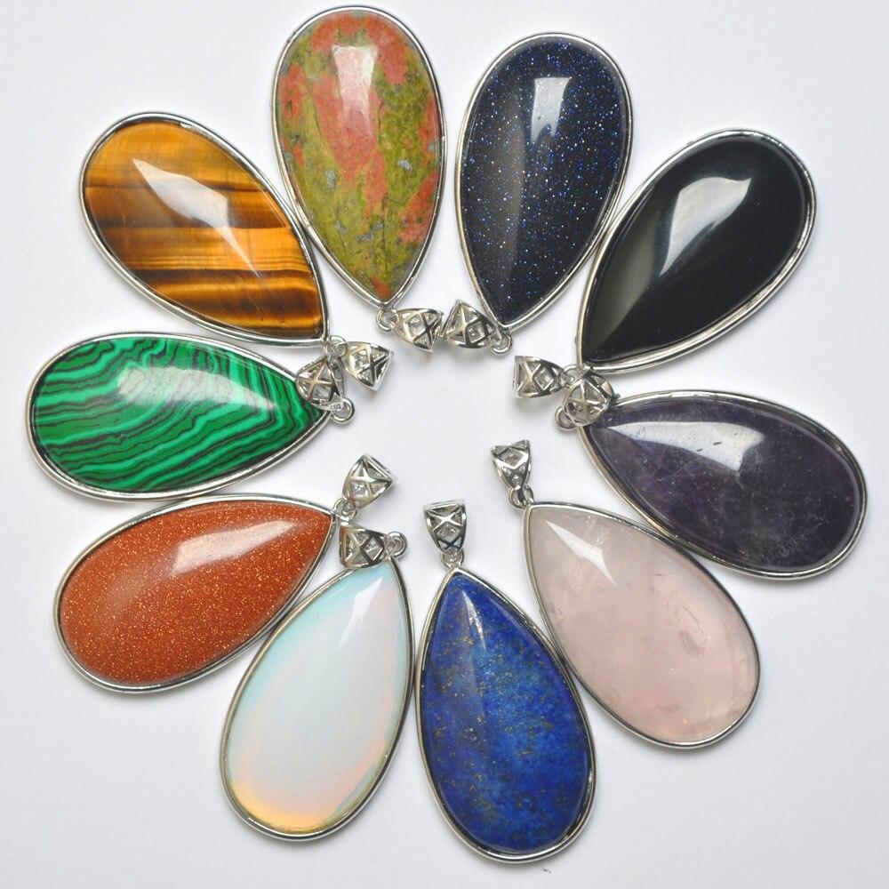 Natural Mixed Stone Green Malachite/Crystal/Sandstone/Lapis/Carnelian/Opal Water drop GEM Pendant Fashion Jewelry 10PCS S3083