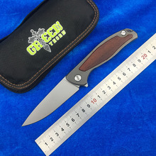 GREEN THORN F95 WOOD New arrival Flipper folding knife D2 blade Titanium handle Outdoor camping hunting pocke knives EDC tools цены