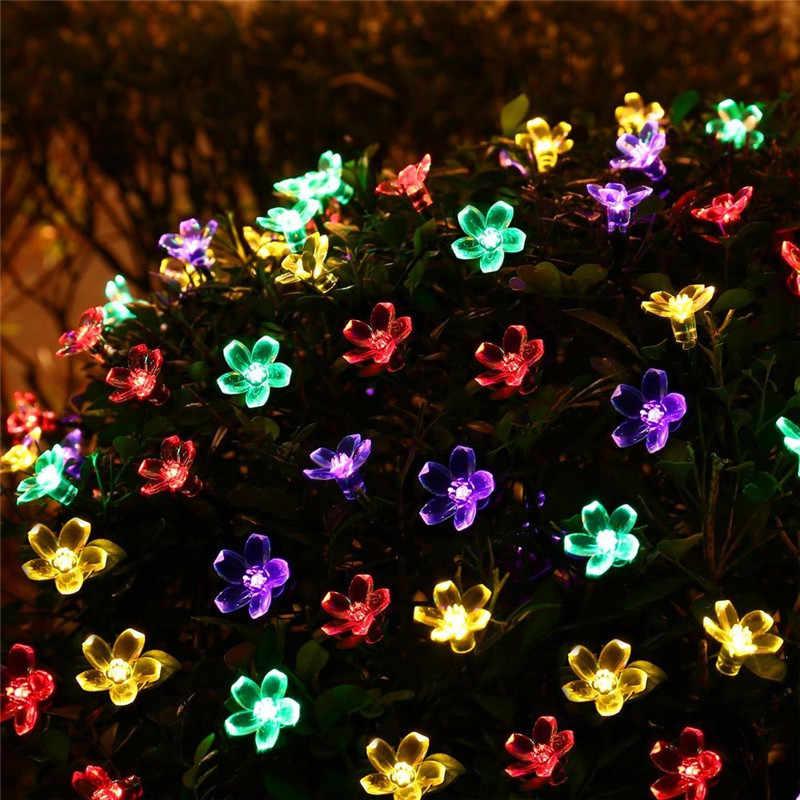 Новый 50 светодиодный S 7 м Персиковый Цветок Солнечная лампа мощность светодиодный Сказочный светильник Солнечная гирлянды сад Рождественское украшение для дома для улицы