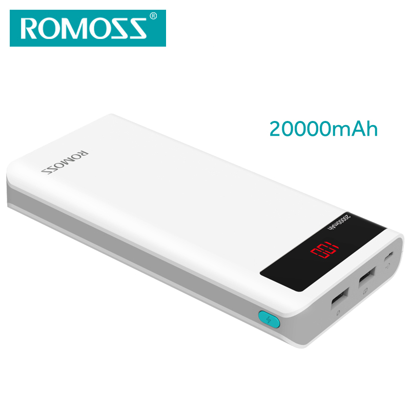 imágenes para Sentido ROMOSS 20000 mAh Banco de Potencia con Pantalla LED Dual USB de Salida de 6 P Max 2.1A Externa li-polímero batería