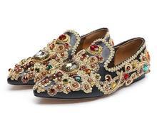 2017 Retro Style Jeweled Kristall Spitz Flache Schuhe Luxus Spitz Strass Party Schuhe Slip Auf Stickerei Schuhe Frau
