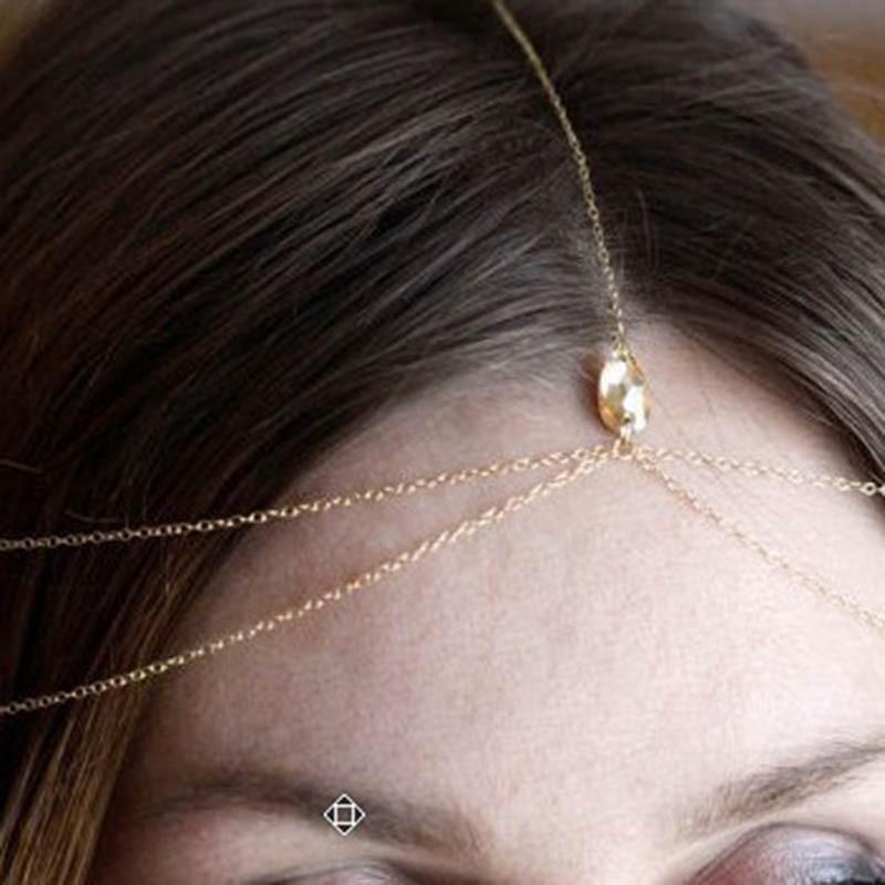 Свадебные ювелирные изделия на лбу модные золотая бижутерия