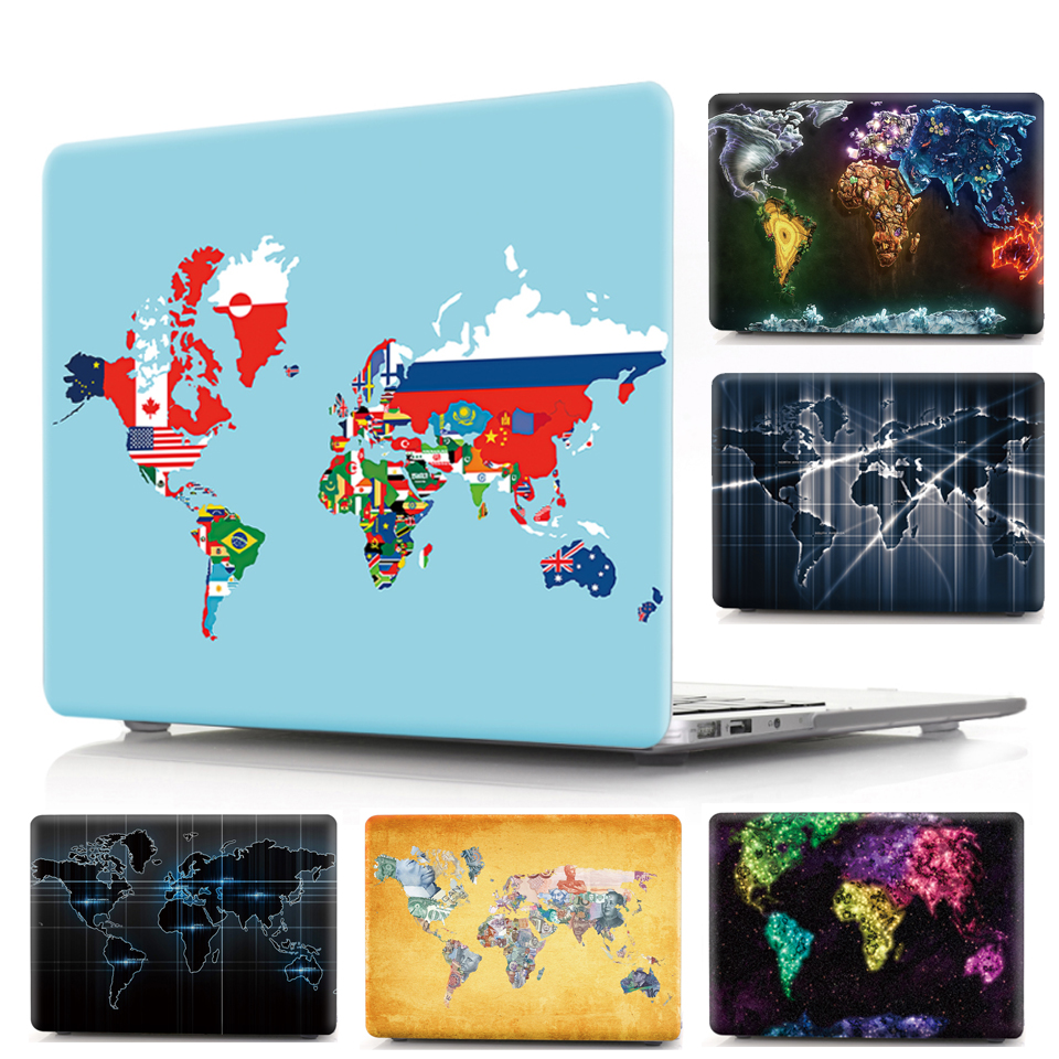 New For Macbook Air Pro Retina 11 12 13 15 Cover Hard PVC Color World Map A1466 Hard PC Coque for Macbook Pro 13 A1989 2018 Case (1)