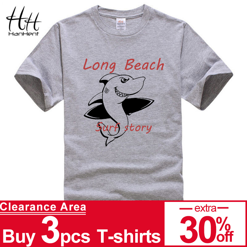HanHent Strand Stil Sommer Mens Casual Kurzarm Anime Cute Shark Lustige T-Shirts Mode Street Wear Fitness Kleidung T-shirt