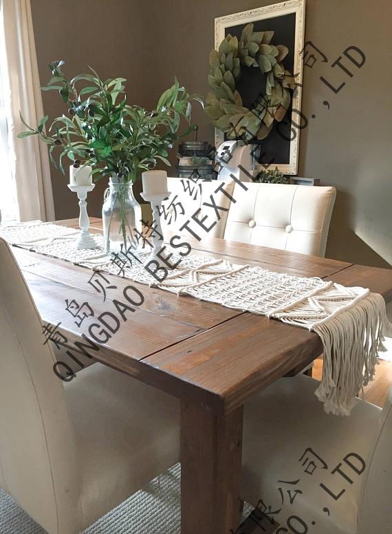 Chemin de table en macramé-coureurs de noël à la main style boho coureurs de mariage couleur BEIGE taille personnalisée décoration de la maison