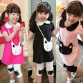 New Kids Baby Girls 2pcs Clothes Set Cotton Kitty Pattern Lapel T-shirt+Short Pants 2-7Y X5