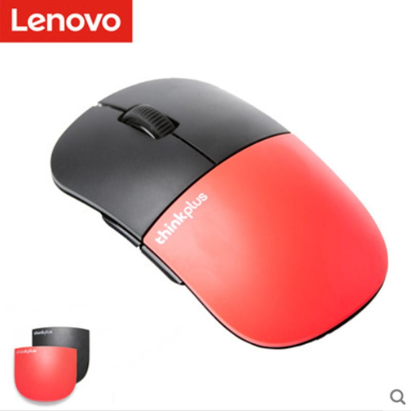 Newest lenovo Wireless mouse ThinkPad thinkplus E3  mute 2.4Ghz Wireless Can change shell RED black laptop computer mouse-in Mice from Computer & Office