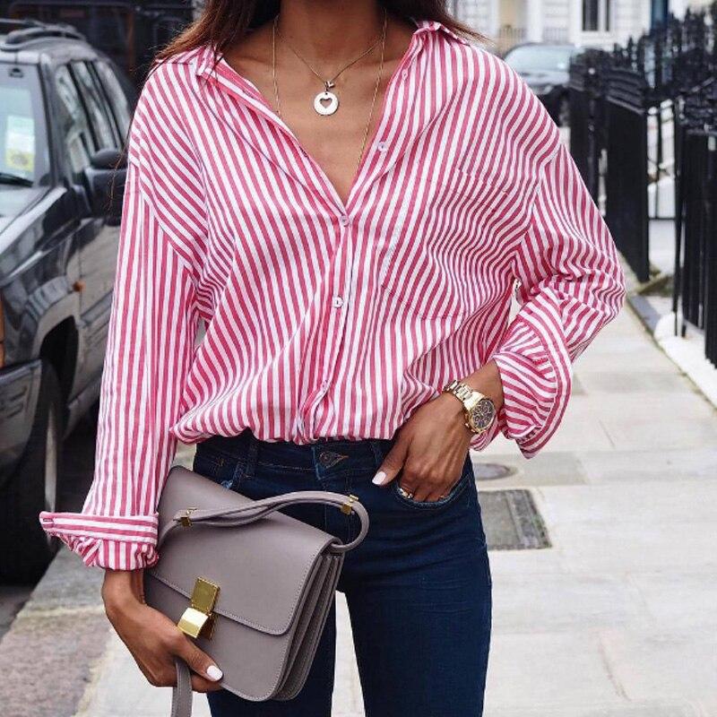 2018 Spring Summer Fashion Blue Pink striped women shirt Sexy side split Elegant half sleeve waistband Casual Work shirt