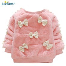 LONSANT Autumn Winter Baby Girl Sweatshirts Long Sleeve Keep Warm Bowknot Villus Tops Faux Fur Plush Clothes princess sweater(China)