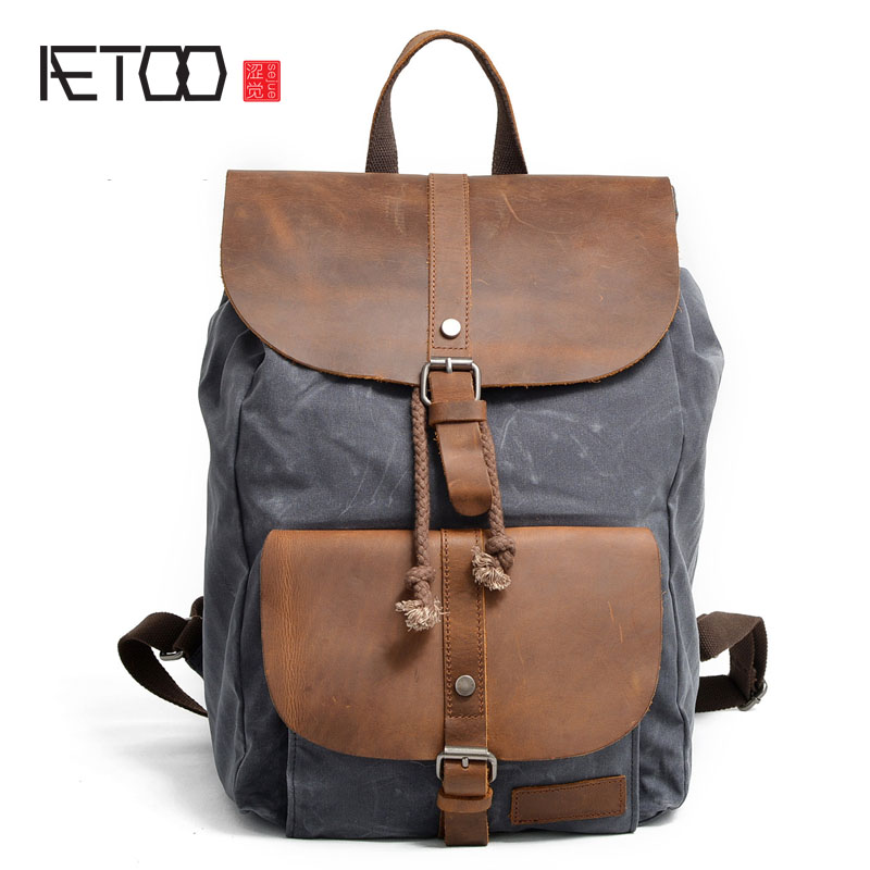 AETOO Men's Shoulders Bag Canvas Waterproof Travel Bag With Mad Horse Skincare Backpack