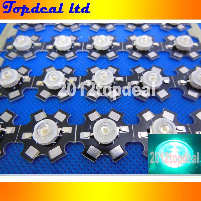 100PCS 3W High Power cyan 490nm LED Emitter Bead 70lm 3 2 3 4V with 20mm