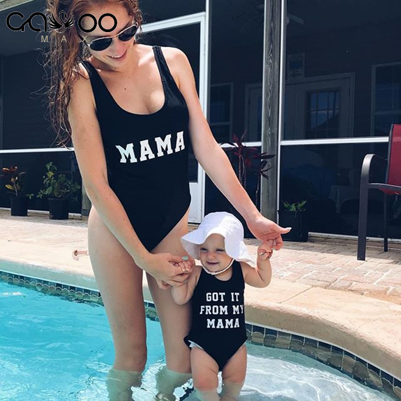 I GOT IT FROM MY MAMA Mom Baby Swimwear 2018 One Piece Swimsuit Backless Bather Thong Monokini Lining Bodysuit Kids Bathing Suit