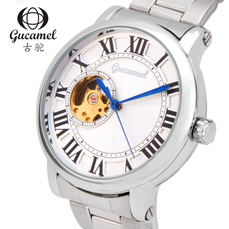 GUCAMEL Fashion Brand Automatic Mechanical Wristwatch Mens Roman Numerals Stainless Steel Leather Waterproof Male Business Watch brief faux leather roman numerals waterproof watch