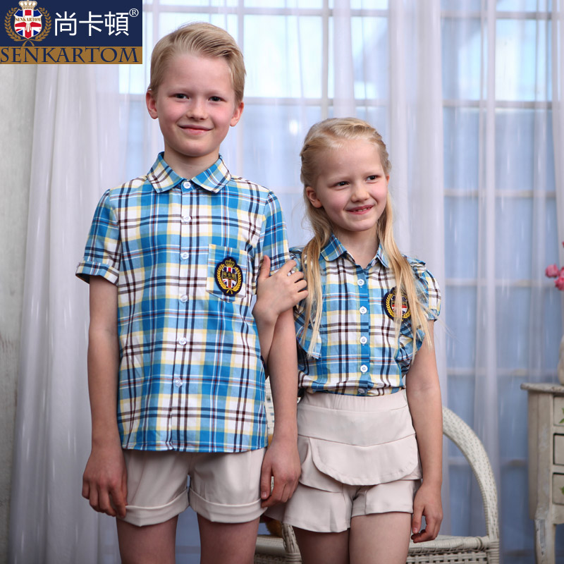 2014 Kindergarten summer uniforms short-sleeved casual shirt set school uniform elementary student - SENKARTOM Official Store store