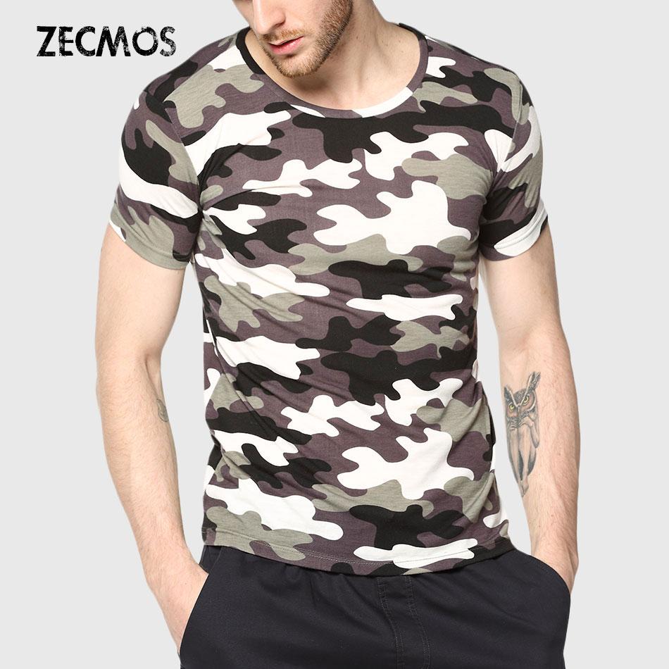 Camuflaje de los hombres T-Shirt Camo Hombre Ejército Militar T - Ropa de hombre