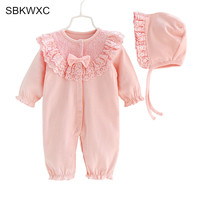 Nette Neugeborene Baby Strampler Kleidung 0-12 Mt Infant Bebes Prinzessin Mädchen Spitze Baby Overall + hut 2 stücke Outfit Sunsuit