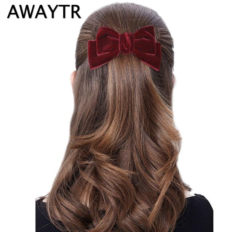 AWAYTR 1pc Handmade 11 cm Velvet Bows Clips Girls Fashion Hair Accessor