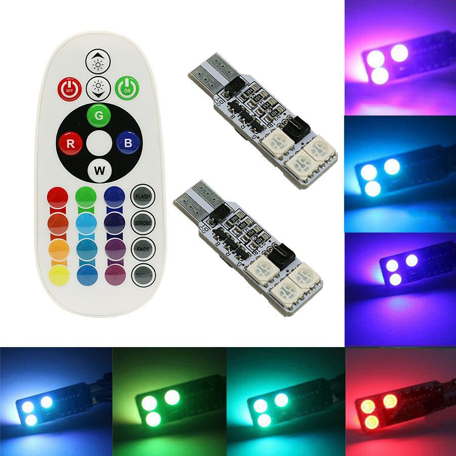 2PCS 5050 SMD RGB T10 194 168 W5W Car Reading Wedge Light  6 LED 12LED LED Bulb With Remote Control Flash Strobe Lamp keyshare dual bulb night vision led light kit for remote control drones