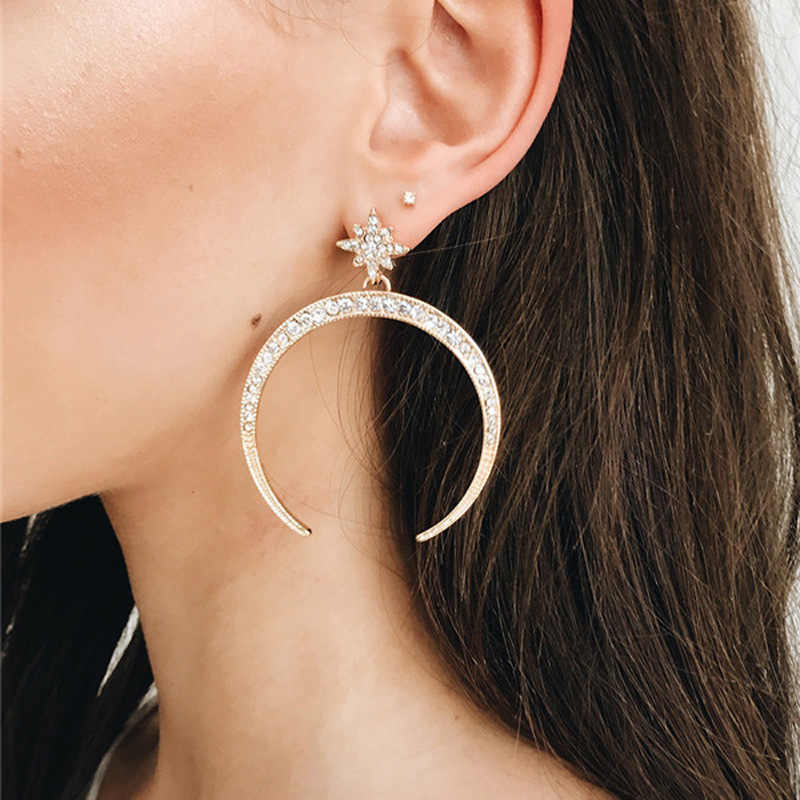 2018 New Fashion Jewelry Exaggerated Earrings Star Moon Rhinestone Brincos Drop Earring Gift For Women Girl