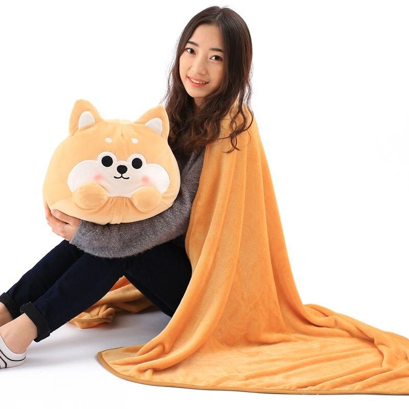 Cartoon dog plush pillow shiba inu toys for children gift Contain Plush Flannel blanket Bedroom cushion creative akita dog shiba inu plush toys imitation dog doll cartoon birthday gift 40 60cm
