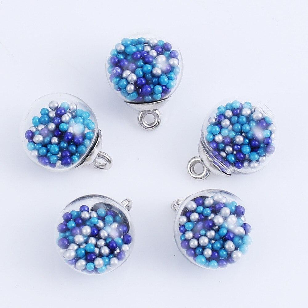 DoreenBeads DIY Findings Pendant Glass Charm Transparent Glass Multicolor Blue Beads Component 21mm( 7/8) x 16mm( 5/8), 20 PCs