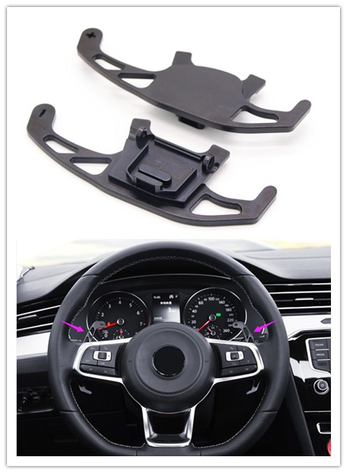 Silver/ Black/ Red Replacement Parts Steering Wheel Paddle Shifter  Extentions For VW Golf MK7 R GTI