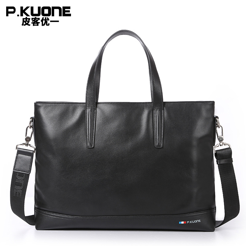 P.Kuone First layer Cowhide Male bag Business Men handbag Cross section Shoulder Bags Genuine Leather briefcase laptop bag