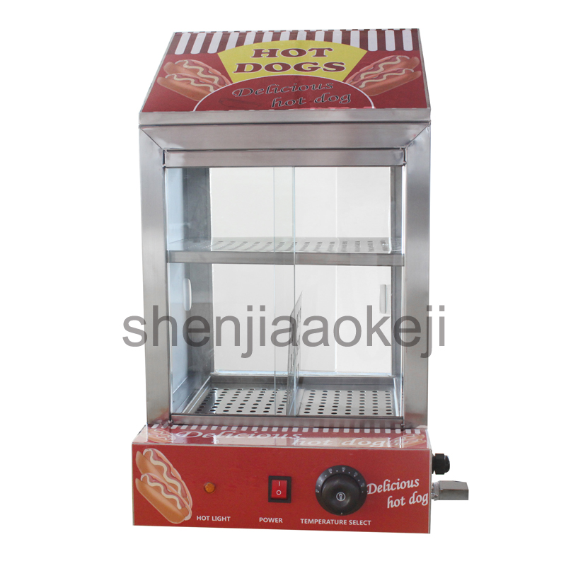 цена Hot dog Bun insulation cabine Commercial Snack insulation cabinet Electric Sausage Hot Dog Cooker Hotdog Warmer 220v 1500w 1pc