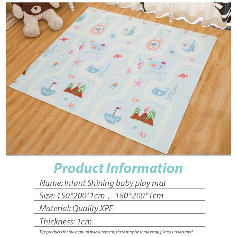 Infantile brillant 200*180*1 cm pliable bébé tapis de jeu écologique XPE enfants Playat Cartton tapis antidérapant tapis de salon - 3
