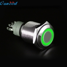 Ouneed Four Colors 12V 16mm LED Power Push Button Switch Silver Aluminum Metal Latching Type for Car/ Motor Gifts