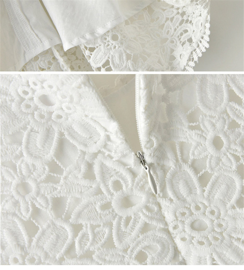 Summer Casual Half Sleeve Girl Lace Dress White Floral Pattern O-Neck - Children's Clothing - Photo 6