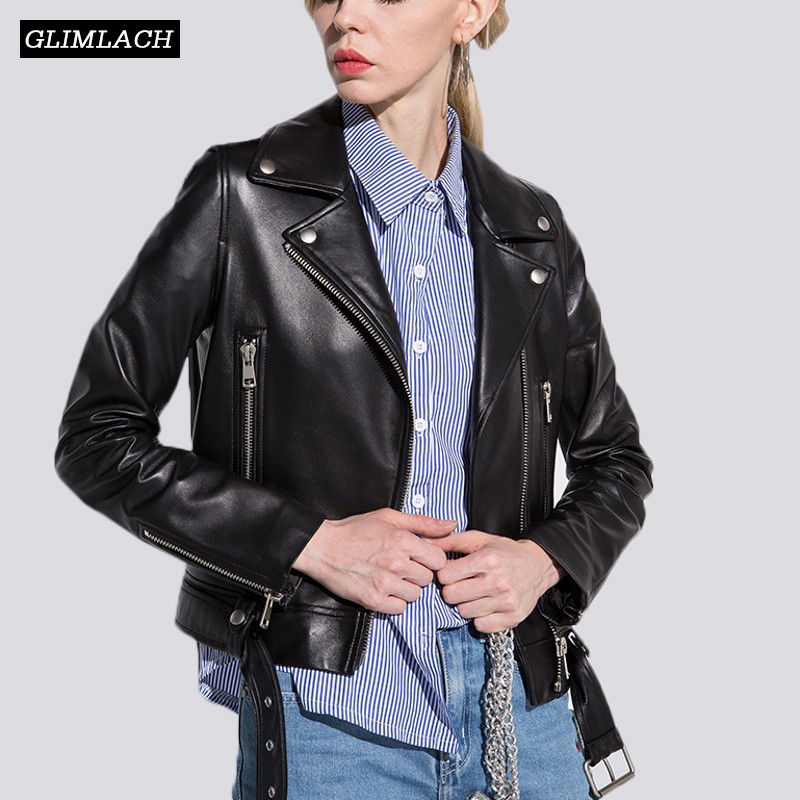 Women Sheepskin Genuine Leather Jackets Autumn Winter Slim Motorcycle Real Leather Coats With Belt Biker Jackets Chaqueta Mujer