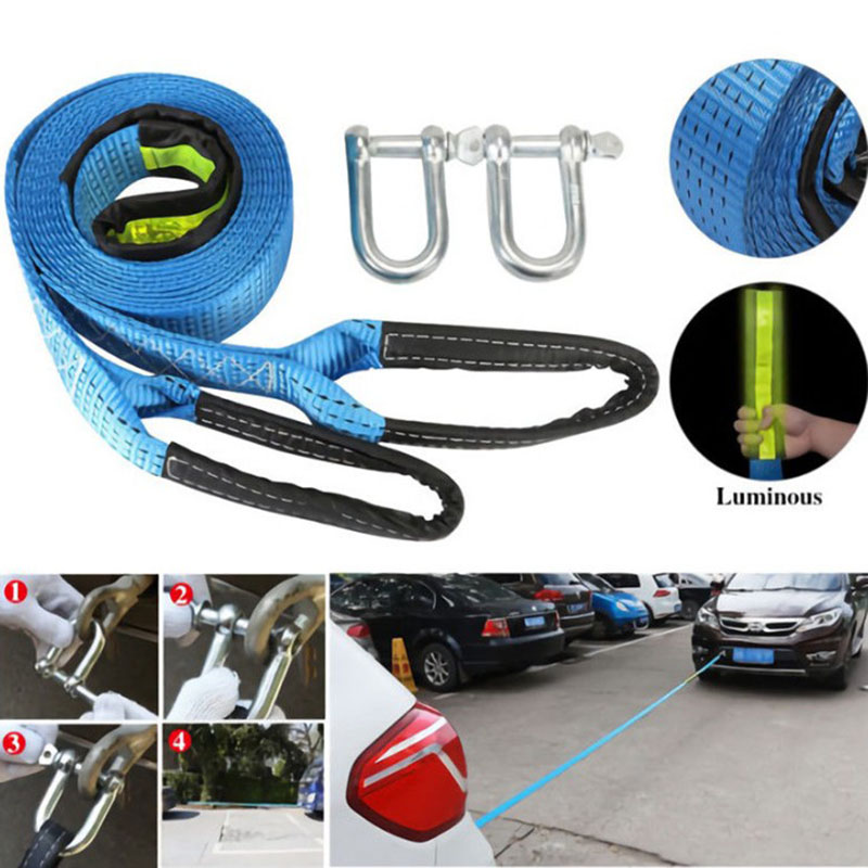 все цены на 5M 8Tons High Strength Nylon Tow Cable Tow Strap Car Towing Rope With Hooks For Heavy Duty Car Emergency With Gloves онлайн