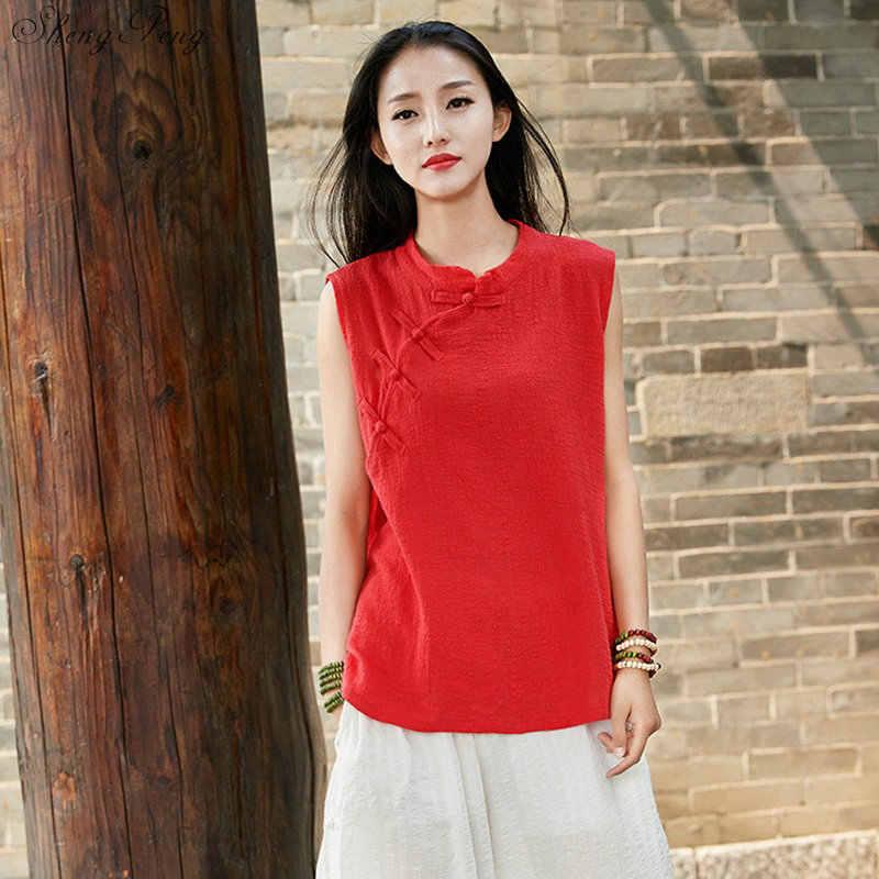 Традиционная китайская рубашка блузка женское платье-Ципао Топ кимоно кардиган льняной Китайский традиционный топ одежда V1599