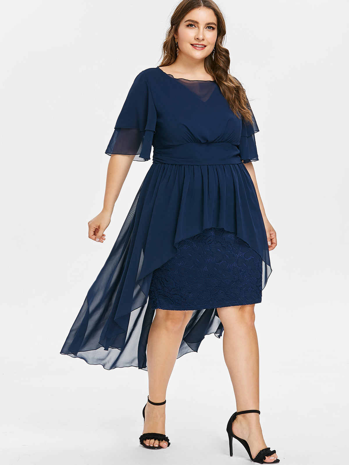 bcd404491a Wipalo Women Tied Belted Plus Size Lace Knee Length Dress Solid V ...
