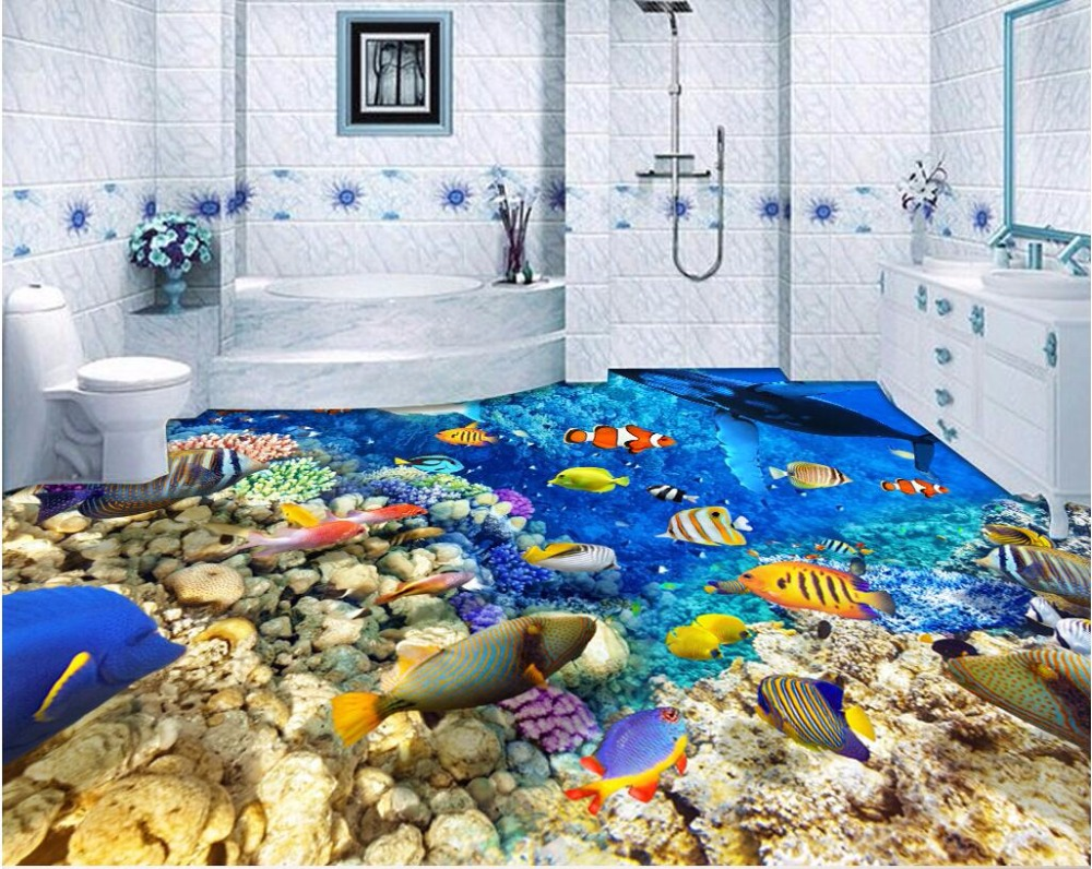 Custom mural 3d flooring picture pvc self adhesive for Cost of a mural