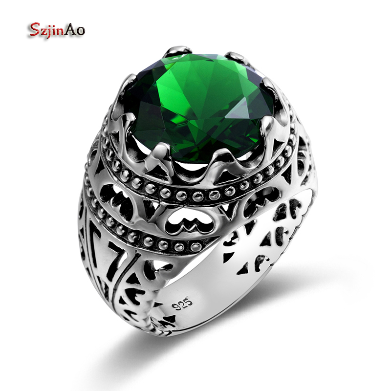 Szjinao Genuine 925 Sterling Silver Rings Punk Vintage Style Green Emerald Semi-Precious Stones For Women Mens Gifts