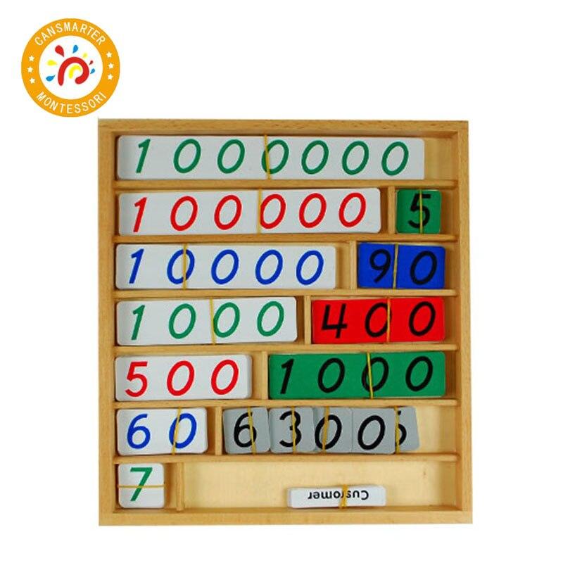 Montessori éducatif bébé jouets mathématiques jeu de banque en bois début des enfants compter des numéros correspondant préscolaire jeux de formation jouets MA075