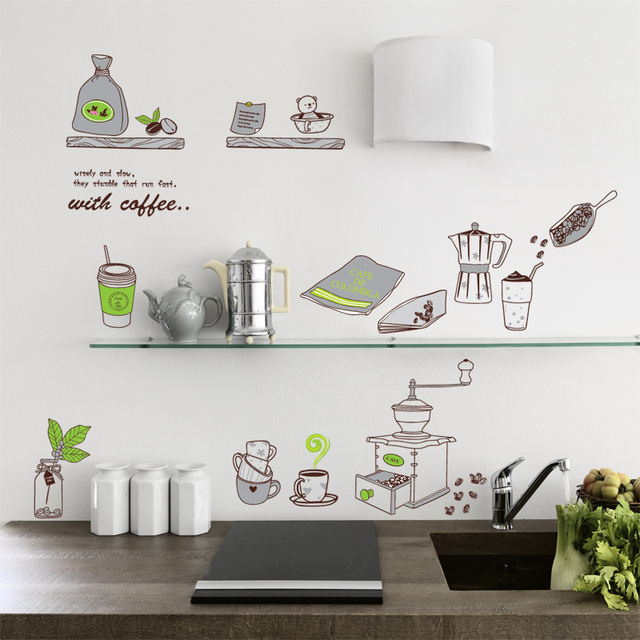 self adhensive coffee cup kitchen accessories wallpaper dinning room 7029 wall sticker diy home - Diy Home Decor Accessories
