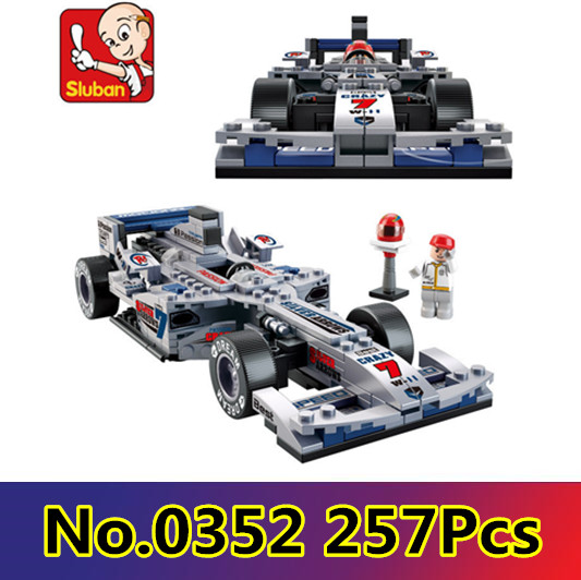 Model building kits compatible with lego city Silver F1 Racing 3D blocks Educational model building toys hobbies for children