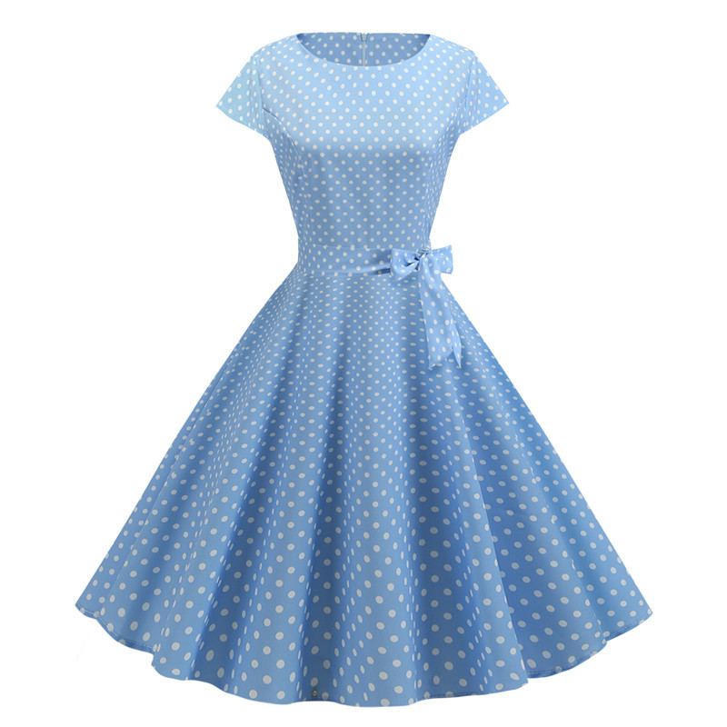 Women Summer Dresses 2020 Robe Vintage 1950s 60s Pin Up Big Swing Party Work Wear Rockabilly Dress White Polka Dot Vestidos
