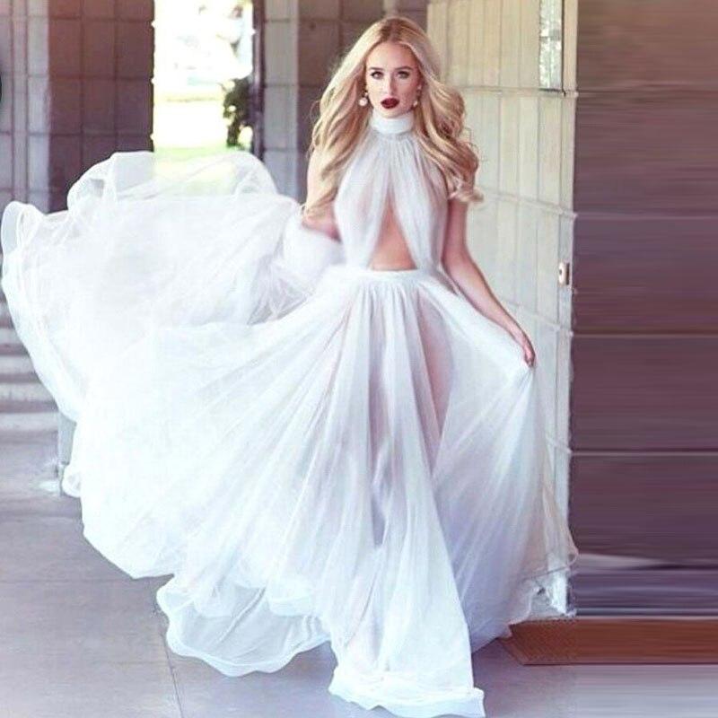 plain white sleeveless wedding dresses chiffon high neck key hole front draped beach bridal dress