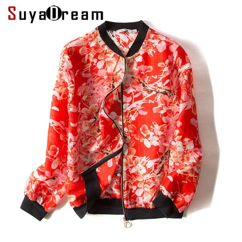 Women Jacket 50 Mulberry Silk 50 Linen Casual Zipper Printed Jackets 2018 Fall Winter New Outwear