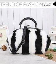 2016 Trend of Fashion Shoulder Bag Color Brands Designer Handbag Real Rabbit Fur Bag Classic Elegant Style Shopping Bag for Lady