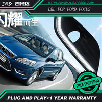 Free Shipping Case For Ford Focus 2009 2015 With Chromed Cover Dimming Style Relay Car DRL