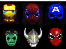 Супер герой светодиодный свет Вечерние Маски Костюм Железный человек/Халк/Американский капитан/Альтман шлем из фильма маски вечеринка Хэллоуин детская игрушка