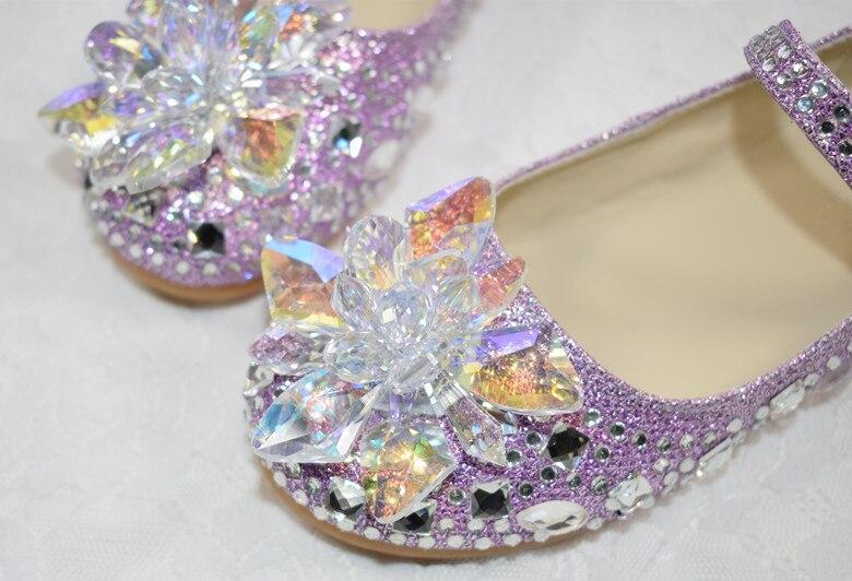 vidro strass meninas sapatos de couro crianças